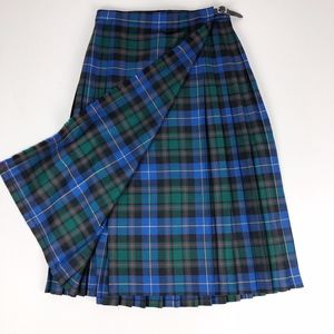 Charter Club Blue Green Plaid Pleated Wrap Skirt